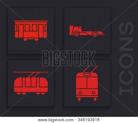 Set Trolleybus, Old City Tram, Formula Race Car And Tram And Railway Icon. Vector