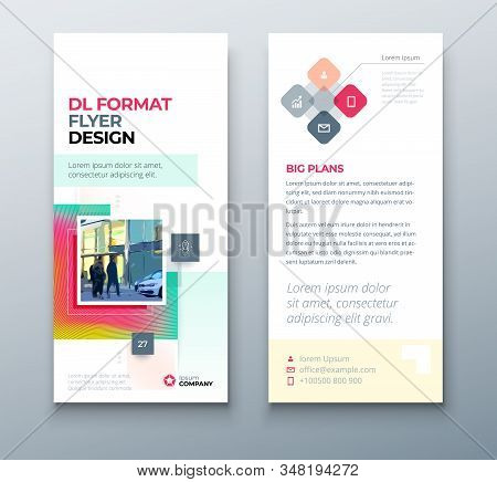 Muticolor Dl Flyer Design With Square Shapes, Corporate Business Template For Dl Flyer. Creative Con