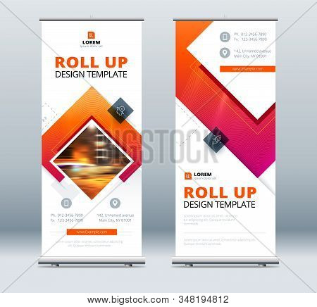 Blue Business Roll Up Banner. Abstract Roll Up Background For Presentation. Vertical Roll Up, Exhibi