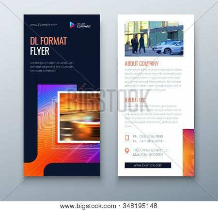 Dark Dl Flyer Design With Square Shapes, Corporate Business Template For Dl Flyer. Creative Concept