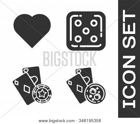 Set Playing Cards And Glass Of Whiskey With Ice Cubes, Playing Card With Heart Symbol, Casino Chip A
