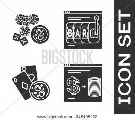 Set Online Casino Chips Exchange On Stacks Of Dollars, Game Dice And Glass Of Whiskey With Ice Cubes