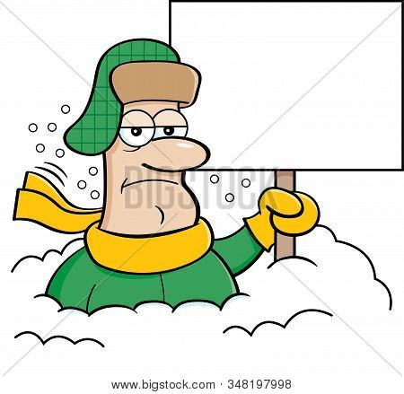 Cartoon Illustration Of A Unhappy Man Buried In Snow And Holding A Blank Sign.