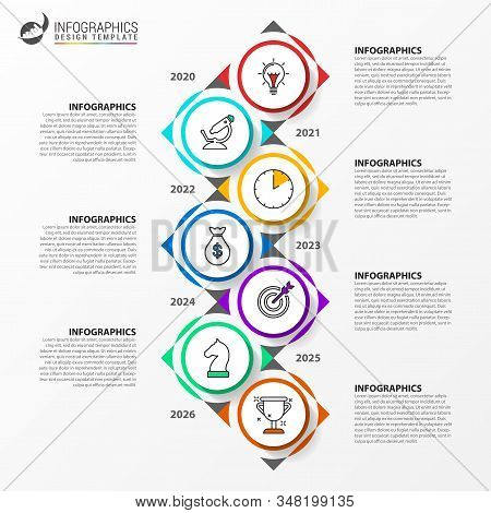 Infographic Design Template. Timeline Concept With 7 Steps. Can Be Used For Workflow Layout, Diagram