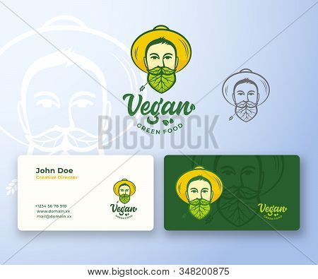 Vegan Food Abstract Abstract Vector Logo And Business Card Template. Young Man In Gardener Hat. Face