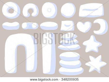 Vector Set Of Pillows In White Pillowcases Isolated On Gray Background. Collection Of Home Decor Cus