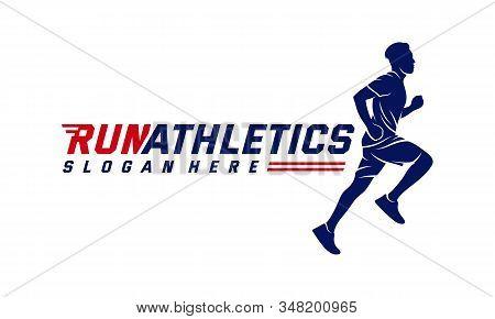Running Man Silhouette Logo Designs Vector, Marathon Logo Template, Running Club Or Sports Club, Ill