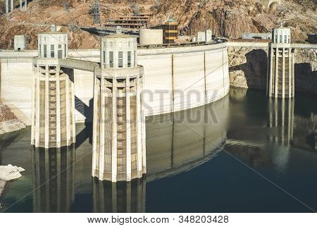 Boulder City, Nevada, United States: July 6 2009: Hoover Dam With Penstock Water Inlet Towers. A Con