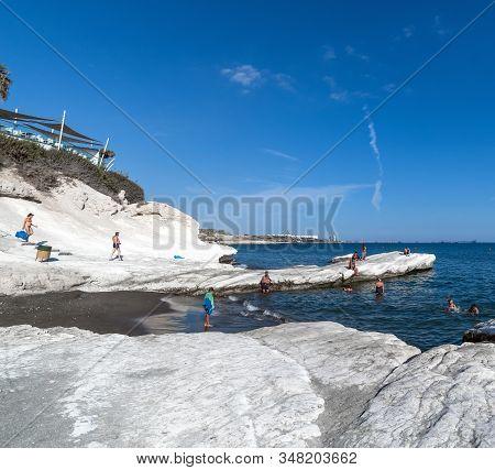 Limassol, Cyprus - Oct 10. 2019 Governor Beach With White Limestone Cliffs. Landmark