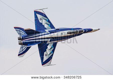Fairford / United Kingdom - July 13, 2018: Royal Canadian Air Force Cf-18 Hornet 188776 Fighter Jet