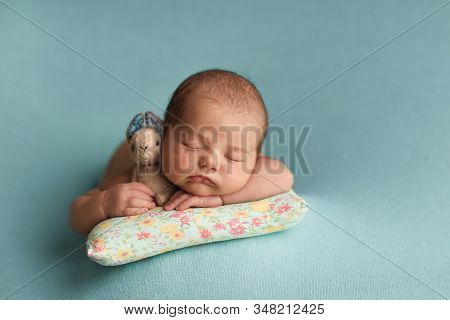 Little Beautiful Newborn Baby Sleeps In An Embrace With A Toy.