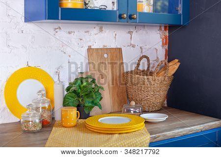 Kitchen Utensils, Concept Of Home Decor Kitchen. Modern Kitchen With Cooking Utensils And Clean Dish