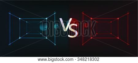 Neon Screen And Banner Of Versus Battle, Glow Pink And Blue Outline Vs Duel For Game Fight, Match Or