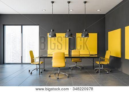 Yellow And Gray Loft Meeting Room Interior