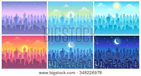 Day Time Cityscape. Change Of Time Of Day, Morning Town And Night City Skyline Vector Illustration S