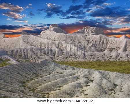 White Chalk Slopes Of The Plateau In Ustyurt