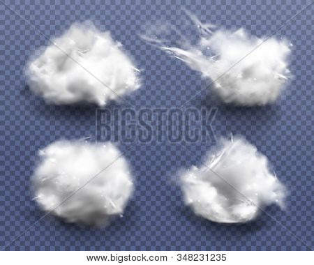 Realistic Cotton Wool, Clouds Or Wadding Balls Set Isolated On Transparent Background. Smooth Soft P