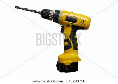 Drill Isolate. Yellow Drill. Drill On A White Background. Construction Tool Isolate. Screwdriver Iso