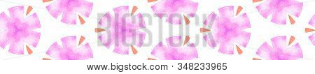 Pink Orange Vintage Seamless Border Scroll. Geometric Watercolor Frame. Creative Seamless Pattern. M