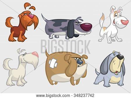 Cartoon Dogs Set. Illustrations Of Dogs Icons.  Retriever, Dachshund, Terrier,pitbull, Spaniel, Bull