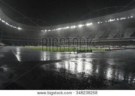 Rio, Brazil - January 30, 2020: Match Stopped Because Of Strong Rain During Botafogo And Resende By