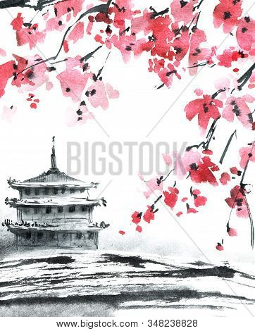 Watercolor And Ink Illustration Of Blossom Sakura Tree With Pink Flowers And Landscape With Pagoda.