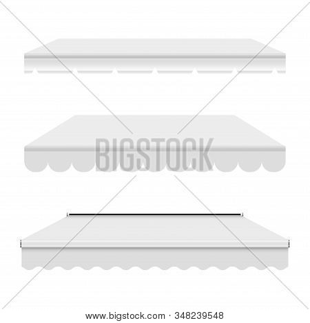 White Empty Commercial Vector Awning. Market, Cafe, Or Restaurant Desing Element. Three Different Pu