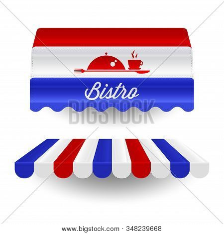 French Bistro Awnings In Colors Of The French Flag. Vector Illustration. Bistro Facade Design Elemen