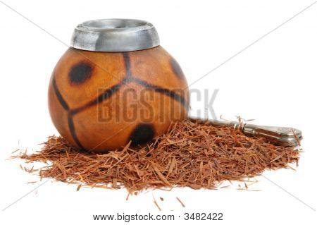 Ñup from calabash and straw with Lapacho tea - a herbal tea made from the inner bark Taheebo tecome tree. Traditional drink of Argentina Paraguay Peru. poster