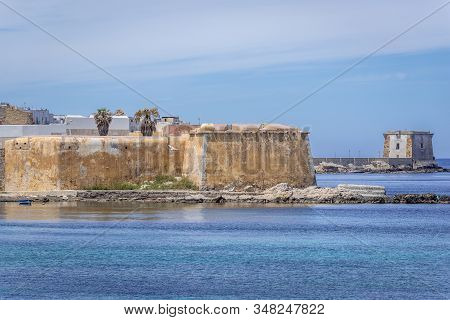 Conca Bastion And Ligny Tower Seen From Historic Tramontana Walls In Trapani, Capital Of Trapani Pro