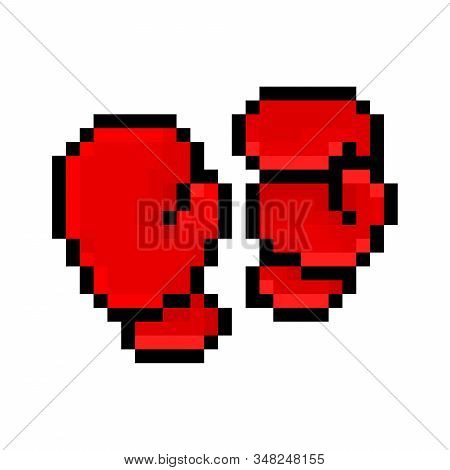 Red Boxing Gloves, Pixel Art Icon Isolated On White Background. 8 Bit Combat Sport Equipment Logo. O