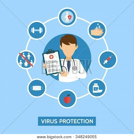 Virus Protection Infographic. Medical Examination. Stop Bacteria. Virus Prevention. Medical Concept.
