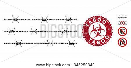 Mosaic Barbwire Fence Icon And Rubber Stamp Seal With Taboo Caption And Biohazard Symbol. Mosaic Vec