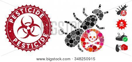 Mosaic Pesticide Icon And Distressed Stamp Seal With Pesticide Text And Biohazard Symbol. Mosaic Vec