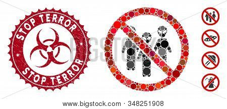Mosaic No Aliens Icon And Corroded Stamp Seal With Stop Terror Text And Biohazard Symbol. Mosaic Vec