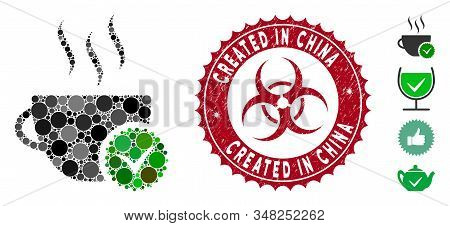 Mosaic Best Coffee Icon And Distressed Stamp Watermark With Created In China Caption And Biohazard S