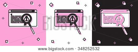 Set System Bug Concept Icon Isolated On Pink And White, Black Background. Code Bug Concept. Bug In T