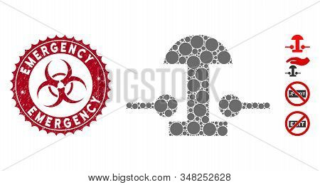 Mosaic Emergency Stop Button Icon And Rubber Stamp Seal With Emergency Text And Biohazard Symbol. Mo