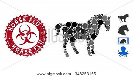 Mosaic Horse Icon And Distressed Stamp Seal With Horse Flu Text And Biohazard Symbol. Mosaic Vector