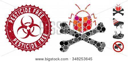 Mosaic Pesticide Icon And Grunge Stamp Watermark With Pesticide Free Text And Biohazard Symbol. Mosa