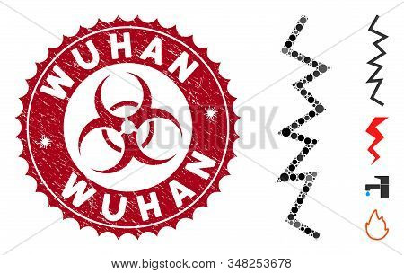 Mosaic Zigzag Line Icon And Corroded Stamp Watermark With Wuhan Phrase And Biohazard Symbol. Mosaic