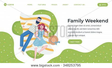 Family Weekend Flat Landing Page Template. Happy Couple Characters Spending Time Together Lying On T