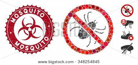 Mosaic No Mite Icon And Corroded Stamp Seal With Mosquito Text And Biohazard Symbol. Mosaic Vector I