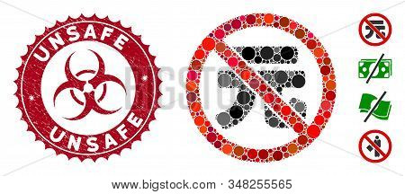 Mosaic No Chinese Yuan Icon And Rubber Stamp Seal With Unsafe Text And Biohazard Symbol. Mosaic Vect