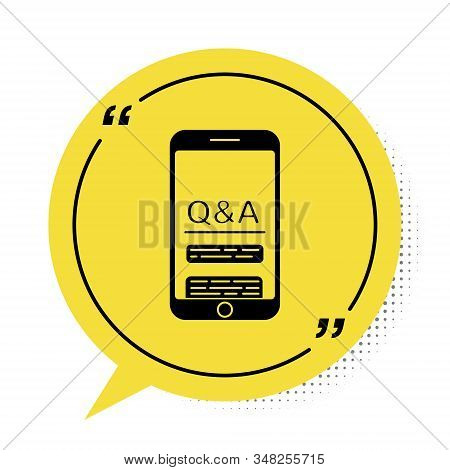 Black Mobile Phone With Question And Exclamation Icon Isolated On White Background. Frequently Asked