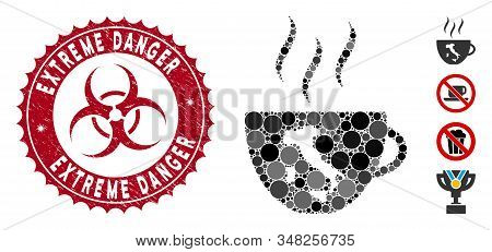 Mosaic Italian Coffee Cup Icon And Distressed Stamp Seal With Extreme Danger Caption And Biohazard S
