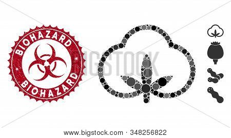Mosaic Cotton Icon And Grunge Stamp Seal With Biohazard Phrase And Biohazard Symbol. Mosaic Vector I