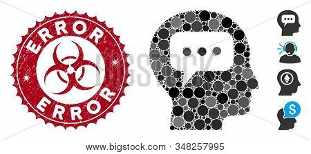 Collage Head Opinion Icon And Grunge Stamp Seal With Error Phrase And Biohazard Symbol. Mosaic Vecto