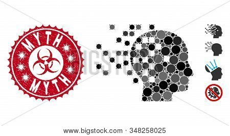 Mosaic Digital Mind Icon And Corroded Stamp Seal With Myth Text And Biohazard Symbol. Mosaic Vector