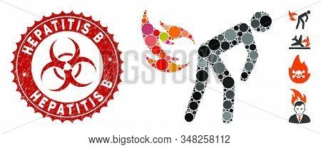 Mosaic Fire Farting Icon And Grunge Stamp Watermark With Hepatitis B Caption And Biohazard Symbol. M